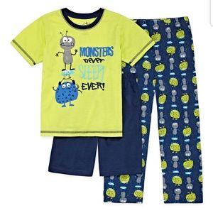 NWT Monster pajama set 3pc